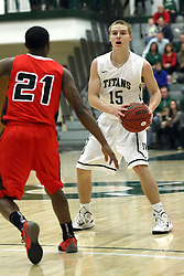 10 January 2015: Brady Rose during an NCAA mens division 3 CCIW basketball game between the Carthage Reds and the Illinois Wesleyan Titans in Shirk Center, Bloomington IL