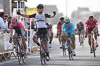 Arrival, CAVENDISH Mark (GBR) Dimension Data, winner, MODOLO Sacha (ITA),  GUARDINI Andrea (ITA), KRISTOFF Alexander (NOR)  during the 15th Tour of Qatar 2016, Stage 1, Dukhan - Al Khor Corniche (176,5Km), on February 8, 2016 - Photo Tim de Waele / DPPI