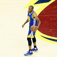 10 June 2016: Golden State Warriors forward Andre Iguodala (9) brings the ball up court during the Golden State Warriors 108-97 victory over the Cleveland Cavaliers, during Game Four of the 2016 NBA Finals at the Quicken Loans Arena, Cleveland, Ohio, USA.