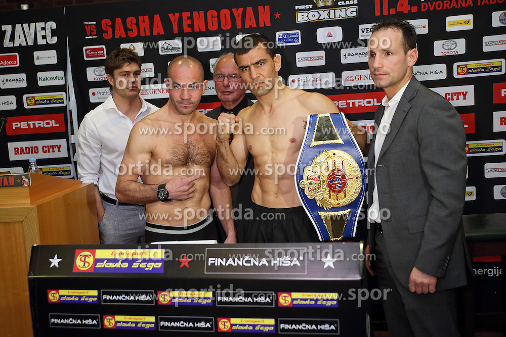 Official weighing of boxers Dejan Zavec alias Jan Zaveck of Slovenia and Sasha Yengoyan of Belgium, on April 10, 2015 in Hotel Primus, Ptuj, Slovenia. Photo by Crtomir Goznik / Sportida