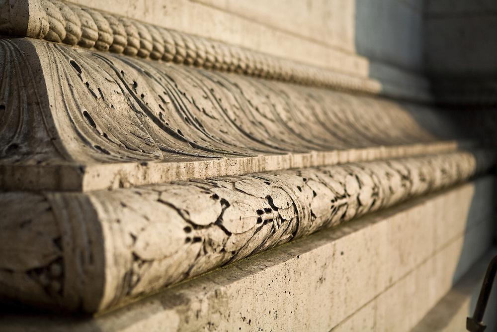Architectural Trim Detail of the L'Arc de Triomphe in Paris, France.