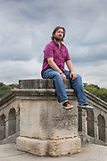 """London, England, UK, October 3 2018 - Portrait of british playwright Leo Butler at Crystal Palace Park, near his home.His play """"All You Need Is LSD"""" opens at the Birmingham Repertory theatre on 4 October, before touring."""