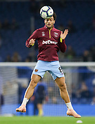 West Ham United midfielder Felipe Anderson (8) in warm up during the Premier League match between Brighton and Hove Albion and West Ham United at the American Express Community Stadium, Brighton and Hove, England on 5 October 2018.