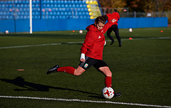 SAINT PETERSBURG, RUSSIA - Monday, October 23, 2017: Wales' Angharad James during a training session at the Petrovsky Minor Sport Arena ahead of the FIFA Women's World Cup 2019 Qualifying Group 1 match between Russia and Wales. (Pic by David Rawcliffe/Propaganda)