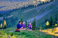 A family enjoys a picnic on Whistler Mountain.