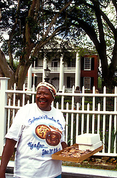 """Pralines for sale!  Miss Sophronia's pralines are famous in this riverside town.  She makes a fresh batch whenever one of the """"Queen"""" cruise ships dock in town and meets customers as they come up from """"Natchez-Under-The-Hill."""""""