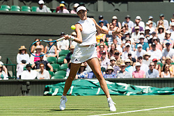 © Licensed to London News Pictures. 03/07/2018. London, UK.  Garbine Muguruza of Spain plays Naomi Broady of the United Kingdom in the women's 1st round singles draw of the Wimbledon Tennis Championships 2018. Photo credit: Ray Tang/LNP