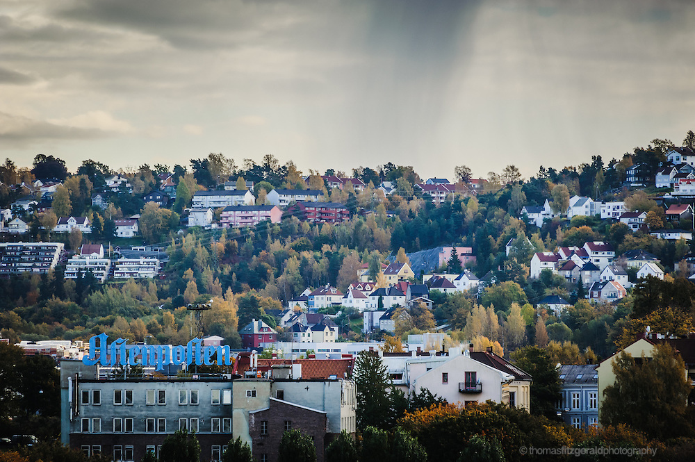 Oslo, Norway, October 2012: Rain over Oslo Suberbs.EDITORIAL ONLY: This Image is only for Editorial Use