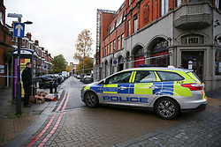 © Licensed to London News Pictures. 07/11/2018. London, UK. Police cordon area on Lithos Road, in West Hampstead. A man in his teens was stabbed on Billy Fury Way off Lithos Road in West Hampstead on Tuesday evening. Photo credit: Dinendra Haria/LNP