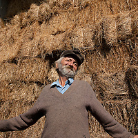 Serbian man on his farm in Rabrovac, Serbia.