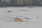 Putney/Barnes,  Great Britain, 304 Monouth School pass 305 Varese SC [ITA] as the crews approach Barnes Rail Bridge.  - 2008 Head of the River Race. Raced from Mortlake to Putney, over the Championship Course.  15/03/2008  [Mandatory Credit. Peter Spurrier/Intersport Images] Rowing Course: River Thames, Championship course, Putney to Mortlake 4.25 Miles,