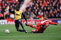 Lauren (Arsenal) fouled by Philip Stamp (Middlesbrough). Middlesbrough 0:1 Arsenal. F.A.Carling Premiership, 4/11/2000. Credit Colorsport / Stuart MacFarlane.