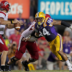 19 September 2009: LSU Tigers defensive end Rahim Alem (84) pressures Louisiana-Lafayette Cajuns quarterback Chris Masson (7) during 31-3 win by the LSU Tigers over the University of Louisiana Lafayette Ragin' Cajuns at Tiger Stadium in Baton Rouge, Louisiana.