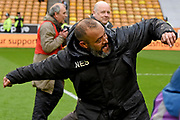 Wolverhampton Wanderers manager Nuno Espirito Santo celebrates winning the league during the EFL Sky Bet Championship match between Wolverhampton Wanderers and Sheffield Wednesday at Molineux, Wolverhampton, England on 29 April 2018. Picture by Alan Franklin.
