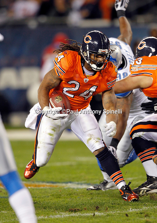 Chicago Bears running back Marion Barber (24) runs the ball during the NFL week 10 football game against the Detroit Lions on Sunday, November 13, 2011 in Chicago, Illinois. The Bears won the game 37-13. ©Paul Anthony Spinelli