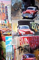 Cuba, La Havane, Vieille Havane, Havanna Viejo, Marché artisanal, Peintures à vendre // Cuba, Havana, Handicraft market, Painting