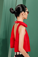 Ming Xi walks the runway wearing Carolina Herrera Spring 2015 during Mecedes-Benz Fashion Week in New York on September 8th, 2014