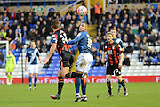 Birmingham City striker James Vaughan flicks on a header during the The FA Cup third round match between Birmingham City and Bournemouth at St Andrews, Birmingham, England on 9 January 2016. Photo by Alan Franklin.