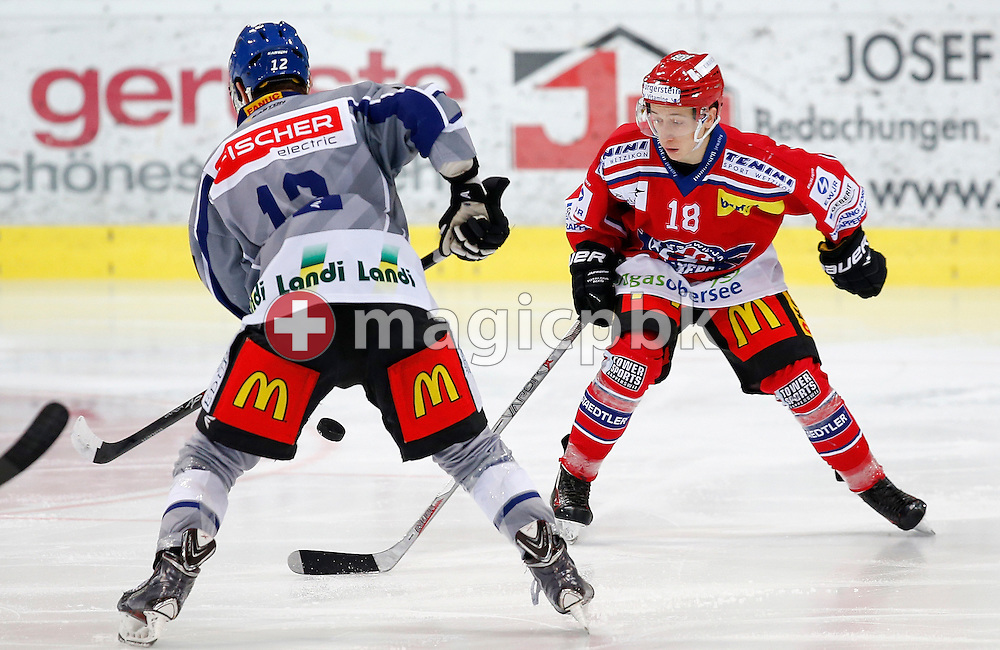 Rapperswil-Jona Lakers defenseman Nico-Gian Dalcolmo is pictured during an Elite A Ranking Round 9-13 ice hockey game between Rapperswil-Jona Lakers and EHC Biel-Bienne Spirit held at the Diners Club Arena in Rapperswil, Switzerland, Sunday, Feb. 28, 2016. (Photo by Patrick B. Kraemer / MAGICPBK)