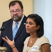 Dr. Shreela Sharma of the University of Texas School of Public Health comments during a news conference discussing back to school parenting at Cunningham Elementary School, September 3, 2015.