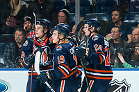 KELOWNA, BC - DECEMBER 27:  Ethan Brandwood #24, Orrin Centazzo #19 and Connor Zary #18 of the Kamloops Blazers celebrate a first period goal against the Kelowna Rockets at Prospera Place on December 27, 2019 in Kelowna, Canada. (Photo by Marissa Baecker/Shoot the Breeze)