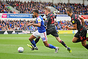 Ipswich Town midfielder Grant Ward (18)  is found by Bolton Wanderers midfielder Craig Noone (12) during the EFL Sky Bet Championship match between Ipswich Town and Bolton Wanderers at Portman Road, Ipswich, England on 22 September 2018.