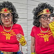 Cosplayer in her Wonder Woman costume outside of Comic Com.  She goes by title of &quot; Retried Wonder Woman costume - Has-been Superhero/Strolling Comedian&quot;<br />