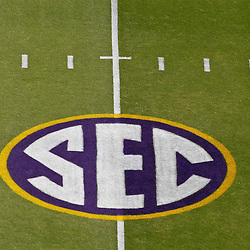 October 22, 2011; Baton Rouge, LA, USA; A SEC logo is seen on the field prior to kickoff of a game between the LSU Tigers and the Auburn Tigers at Tiger Stadium.  Mandatory Credit: Derick E. Hingle-US PRESSWIRE / © Derick E. Hingle 2011