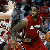 18 May 2011: Miami Heat small forward LeBron James (6) drives past Chicago Bulls small forward Luol Deng (9) during the Miami Heat 85-75 victory over the Chicago Bulls, during game 2 of the Eastern Conference finals at the United Center, Chicago, Illinois, USA.