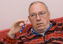 Retired Slovenian TV commentator Tom Lajevec at an interview, on November 2, 2009, in Ljubljana, Slovenia.   (Photo by Vid Ponikvar / Sportida)