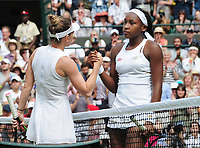 Tennis - 2019 Wimbledon Championships - Week Two, Monday (Day Seven)<br /> <br /> Women's Singles, Fourth Round: Simona Halep (ROU) v Cori Gauff (USA)<br /> <br /> Simona Halep consoles Gauff at the net after the match, on Court 1.<br /> <br /> COLORSPORT/ANDREW COWIE