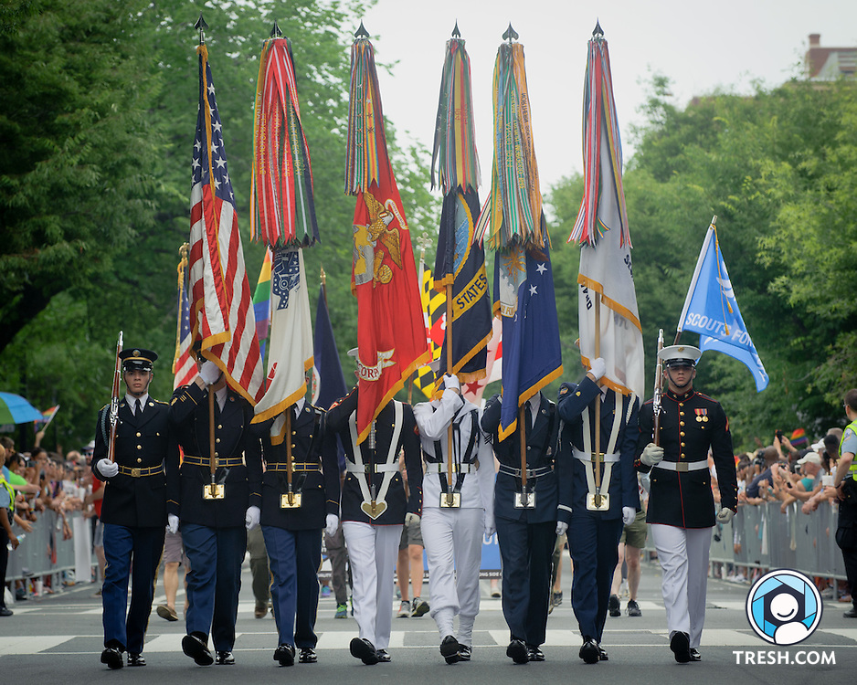 A military color guard leads the Capital Pride Parade, Washington, D.C., Saturday, June 13, 2015.