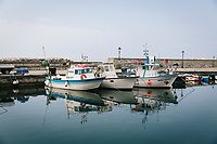 """PISCIOTTA, ITALY - 22 APRIL 2018: Fishing boats used to fish alici di Menaica (Menaica anchovies) are seen here in the harbour of Pisciotta, Italy, on April 22nd 2018.<br /> <br /> Former restaurant owners Donatella Marino and her husband Vittorio Rimbaldo have spent the recent years preparing and selling salted anchovies, called alici di menaica, to a growing market thanks to a boost in visibility from the non-profit Slow Food.  The ancient Menaica technique is named after the nets they use brought by the Greeks wherever they settled in the Mediterranean. Their process epitomizes the concept of slow food, and involves a nightly excursion with the special, loose nets that are built to catch only the larger swimmers. The fresh, red anchovies are immediately cleaned and brined seaside, then placed in terracotta pots in between layers of salt, to rest for three months before they're aged to perfection.While modern law requires them to use PVC containers for preserving, the government recently granted them permission to use up to 10 chestnut wood barrels for salting in the traditional manner. The barrels are """"washed"""" in the sea for 2-3 days before they're packed with anchovies and sea salt and set aside to cure for 90 days. The alici are then sold in round terracotta containers, evoking the traditional vessels that families once used to preserve their personal supply.<br /> <br /> Unlike conventional nets with holes of about one centimeter, the menaica, with holes of about one and half centimeters, lets smaller anchovies easily swim through. The point may be to concentrate on bigger specimens, but the net also prevents overfishing."""