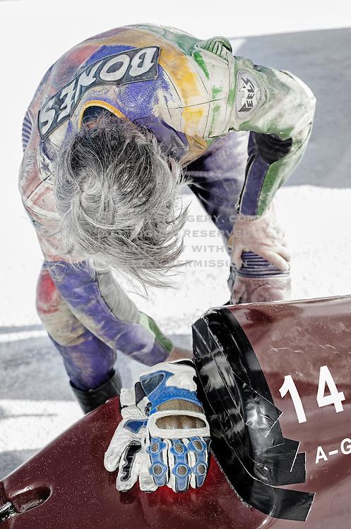 Image of a Bonneville Salt Flats racer preparing his hotrod in Wendover, Utah, American Southwest