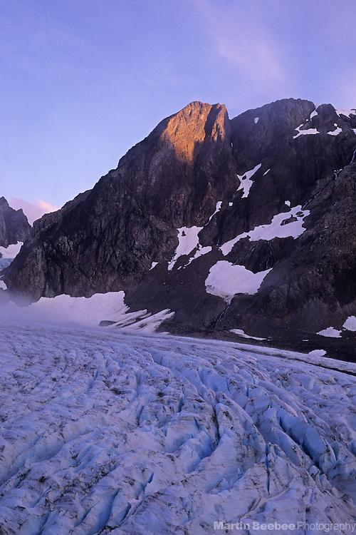 Alpenglow on Mt. Olympus above Blue Glacier, Olympic National Park, Washington
