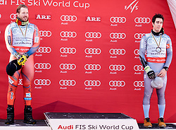15.03.2018, Aare, SWE, FIS Weltcup Ski Alpin, Finale, Aare, SuperG Weltcup, Siegerehrung, im Bild v.l. Kjetil Jansrud (NOR, 2. Platz Weltcup Alpine Kombination), Victor Muffat-Jeandet (FRA, 3. Platz Weltcup Alpine Kombination) // f.l. second placed world cup alpine combinet Kjetil Jansrud of Norway third placed world cup alpine combinet Victor Muffat-Jeandet of France during the winner Ceremony for the SuperG Worlcup of FIS Ski Alpine World Cup finals in Aare, Sweden on 2018/03/15. EXPA Pictures © 2018, PhotoCredit: EXPA/ Johann Groder