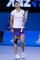 © Licensed to London News Pictures. 26/01/2013. Melbourne Park, Australia. A frustrated Li Na reacts after losing a point during the Womens Final between Victoria Azarenka and Li Na of the Australian Open. Photo credit : Asanka Brendon Ratnayake/LNP