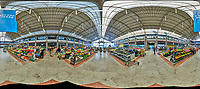Mercado da Ribeira. Indoor Farmers Market  360 degree panorama view. Composite of 28 images taken with a Nikon D850 camera and 8-15 mm fisheye lens (ISO 3200, 15 mm, f/8, 1/125 sec). Raw images processed with Capture One Pro and Auto Pano Giga.