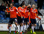 Luke Wilkinson of Luton Town (left) celebrates scoring the opening goal against Newport County during the Sky Bet League 2 match at Kenilworth Road, Luton<br /> Picture by David Horn/Focus Images Ltd +44 7545 970036<br /> 20/12/2014