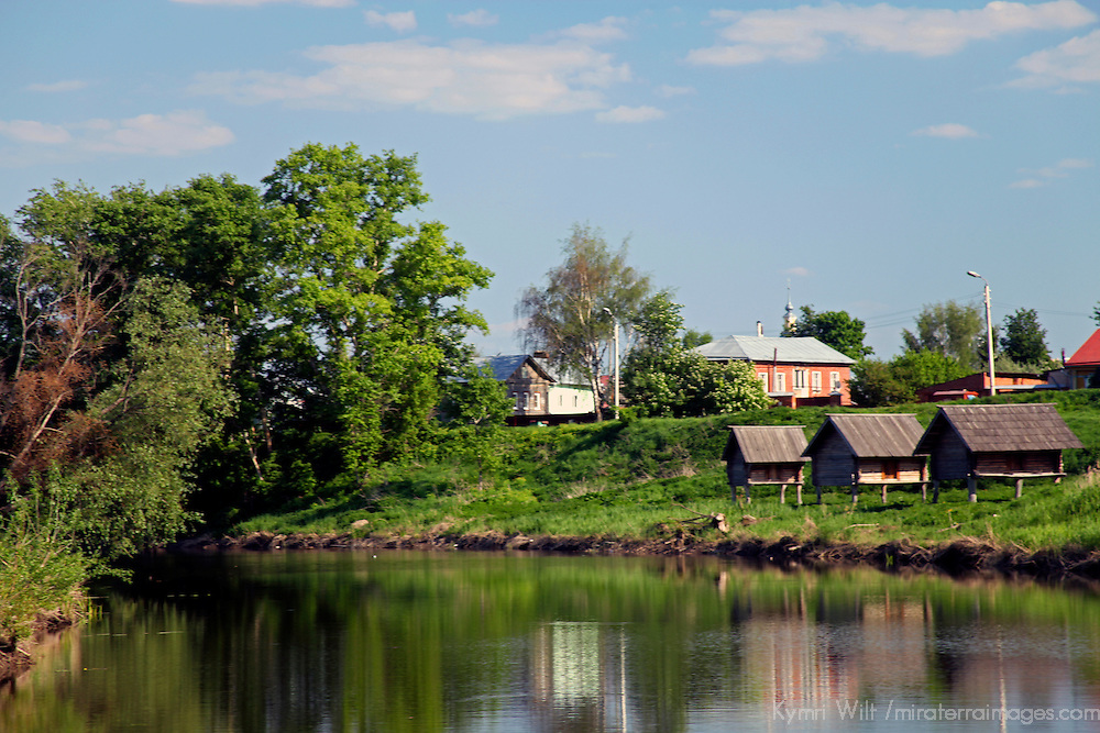 Europe, Russia, Suzdal. Kamenka River. Kamenka River and wooden bee hives.