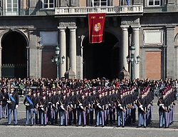 November 17, 2018 - 17-11-2018, Naples, Piazza del Plebiscito - Italy.This morning the body of the famous Italian military school La Nunziatella, the young recruits of the 281th flock swore loyalty to the homeland..At the event there are many state authorities such as the defense minister of the Italian republic, the prefects the mayor. (Credit Image: © Fabio Sasso/ZUMA Wire)