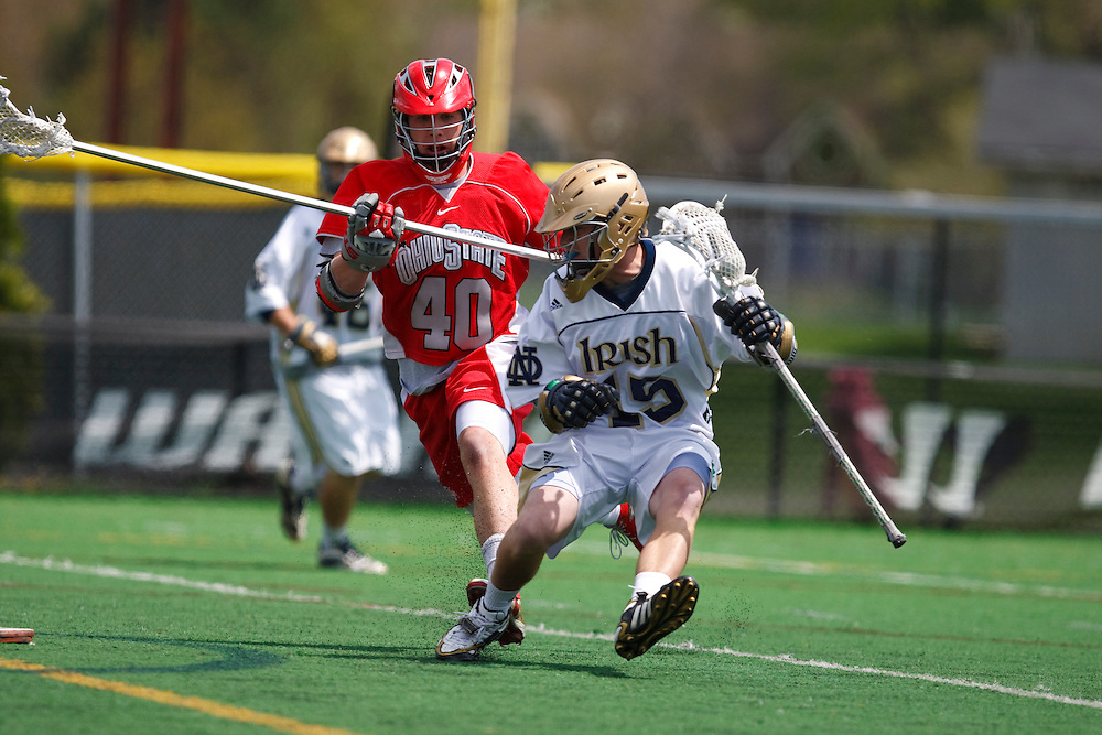 May 3, 2009:  #40 TJ Smith of Ohio State and #15 Kevin Cullinane of Notre Dame in action during the NCAA Lacrosse game between Notre Dame and Ohio State at GWLL Tournament in Birmingham, Michigan. Notre Dame defeated OSU 16-7. (Credit Image: Rick Osentoski/Cal Sport Media)