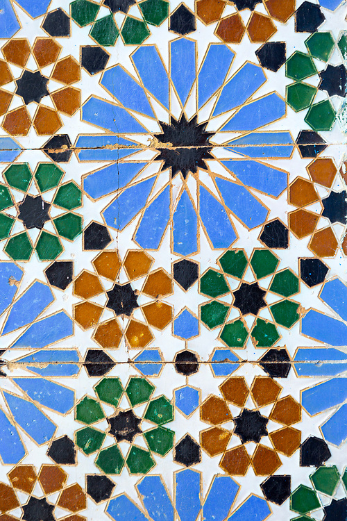 Moroccan doorway zelij mosaic tiling, Asilah, Northern Morocco, 2015-08-11.&nbsp;<br />