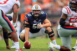 Auburn Tigers offensive lineman Casey Dunn (50) during an NCAA football game against the Mississippi Rebels, Saturday, October 7, 2017, in Auburn, AL. Auburn won 44-23. (Paul Abell via Abell Images for Chick-fil-A Peach Bowl)