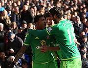 Sunderland's Defender Patrick van Aanholt  celebrating with Sunderland's Striker Danny Graham after scoring during the Barclays Premier League match between Tottenham Hotspur and Sunderland at White Hart Lane, London, England on 16 January 2016. Photo by Matthew Redman.