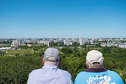 Visitors on viewing platform looking at Marzahn district at IFA 2017 International Garden Festival (International Garten Ausstellung) in Berlin, Germany