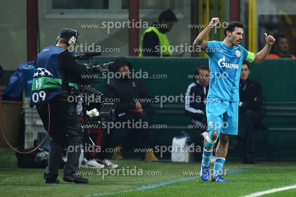 04.12.2012, Giuseppe-Meazza-Stadion, Mailand, ITA, UEFA CL, AC Mailand vs Zenit St. Petersburg, Gruppe C, im Bild Zenit captain Danny celebrates scoring goal 0-1.Goal esultanza // during UEFA Champions League group C match between AC Milan and Zenit St. Petersburg at the Giuseppe-Meazza-Stadion, Milan, Italy on 2012/12/04. EXPA Pictures © 2012, PhotoCredit: EXPA/ Insidefoto/ Andrea Staccioli..***** ATTENTION - for AUT, SLO, CRO, SRB, BIH and SWE only *****
