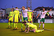 Bognor Regis Town defender Ed Sanders (6) celebrates his equaliser 1-1 during the Ryman Premier League match between Bognor Regis Town and Havant & Waterlooville FC at Nyewood Lane, Bognor, United Kingdom on 26 December 2016. Photo by Jon Bromley.