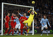 PEPE REINA PUNCHES CLEAR.MANCHESTER CITY V LIVERPOOL FC.MANCHESTER CITY V LIVERPOOL FC, BARCLAYS PREMIER LEAGUE.ETIHAD STADIUM, MANCHESTER, ENGLAND.03 February 2013.GAQ65239..  .WARNING! This Photograph May Only Be Used For Newspaper And/Or Magazine Editorial Purposes..May Not Be Used For Publications Involving 1 player, 1 Club Or 1 Competition .Without Written Authorisation From Football DataCo Ltd..For Any Queries, Please Contact Football DataCo Ltd on +44 (0) 207 864 9121