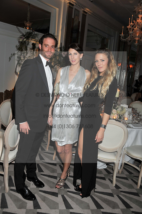 Left to right, COUNT RICCARDO LANZA, SUSANNA WARREN and SOPHIE MOSS at a dinner and dance hosted by Leon Max for the charity Too Many Women in support of Breakthrough Breast Cancer held at Claridges, Brook Street, London on 1st December 2011.
